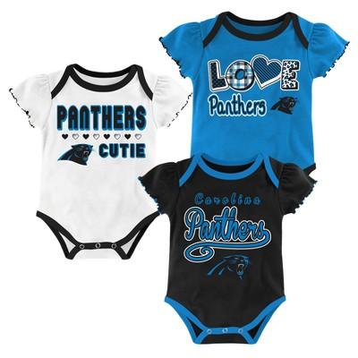 Carolina Panthers Baby Girls' 3pk Bodysuit Set - 12 M
