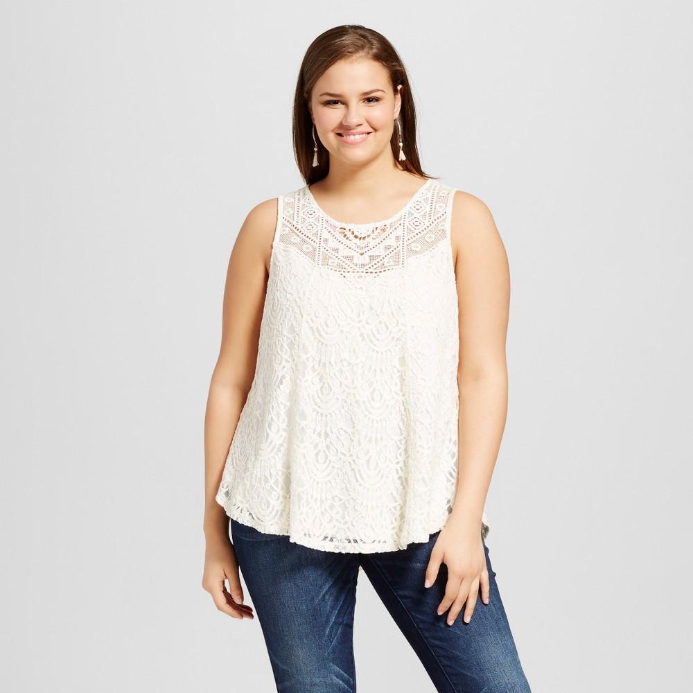 Womens Plus Size Crochet Keyhole Back Tank Top Off-White (Beige) 1X - Born Famous (Juniors)