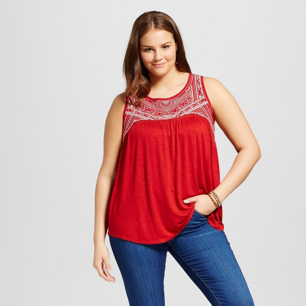 Womens Plus Size Embroidered Tank Top Red 1X - Born Famous (Juniors)