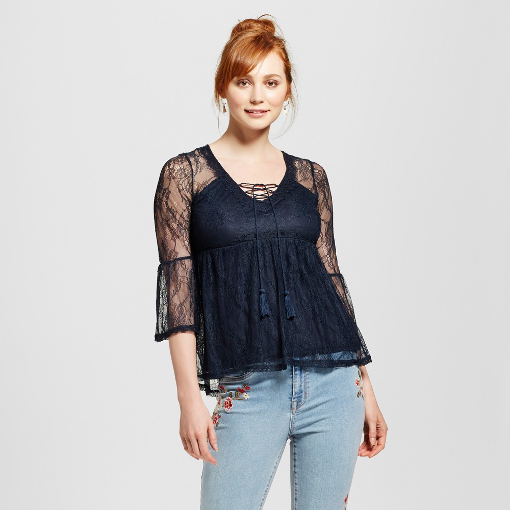 Womens Lace Bell-Sleeve Babydoll Top - Almost Famous (Juniors) Navy (Blue) M