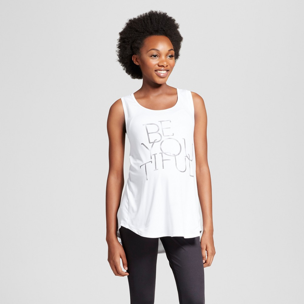 Maternity Graphic Tank Top - C9 Champion White Be You Tiful L, Womens