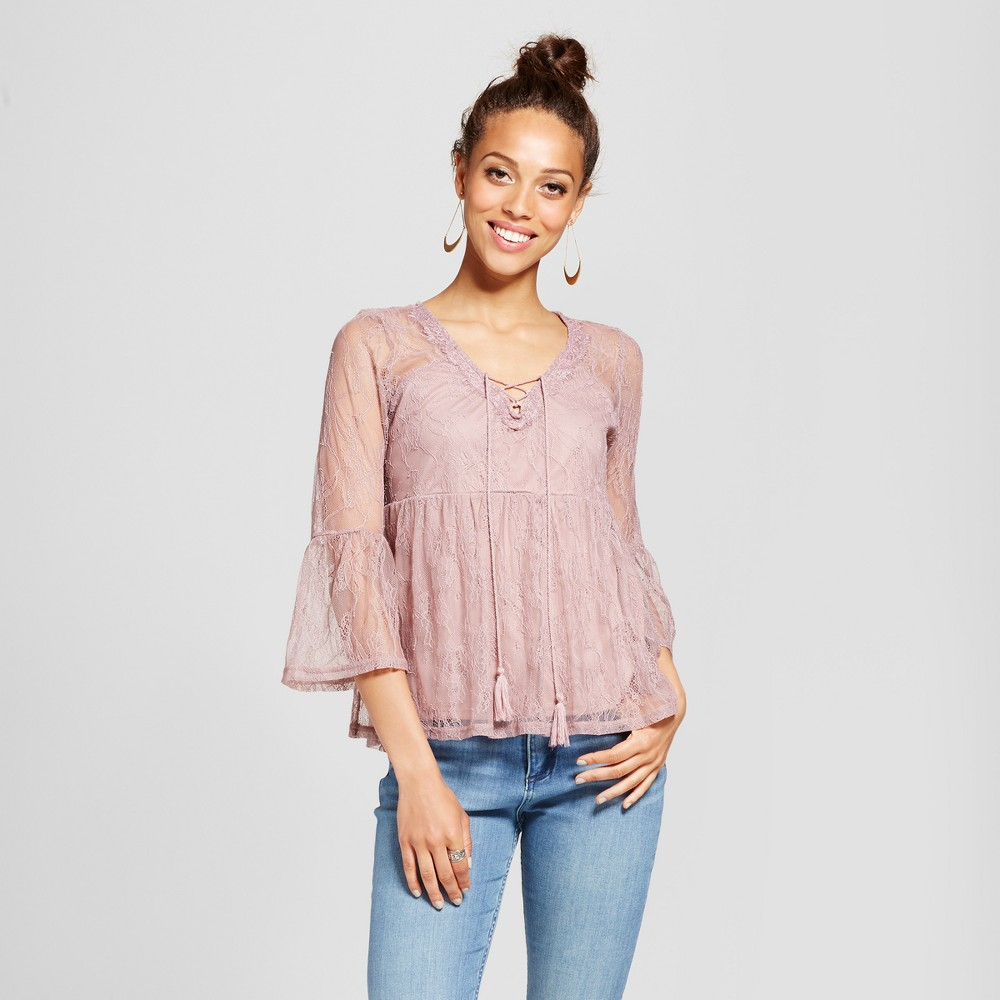 Womens Lace Bell-Sleeve Babydoll Top - Almost Famous (Juniors) Mauve (Pink) L