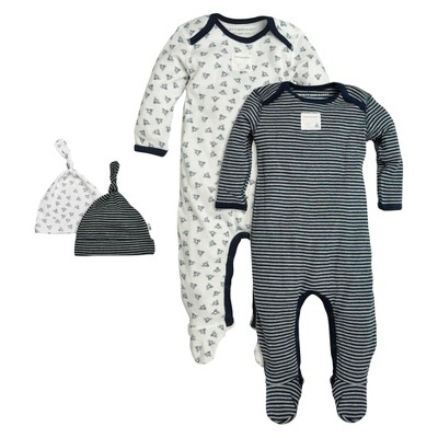 Burt's Bees Baby® Organic Cotton Long Sleeve 4pc Coverall and Hat Set Patterned - Blueberry Blue