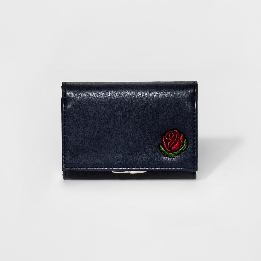 Womens Small Kisslock Billfold Wallet with Patches - Mossimo Supply Co. Navy (Blue)
