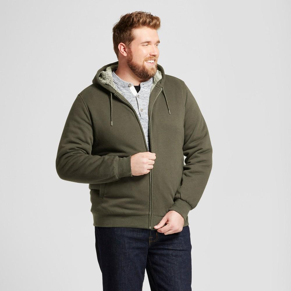 Mens Big & Tall Standard Fit Sherpa Hoodie - Goodfellow & Co Olive (Green) 2XB