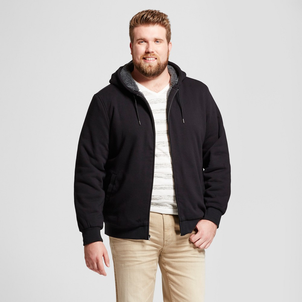 Men's Big & Tall Standard Fit Sherpa Hoodie - Goodfellow & Co Black 4XB