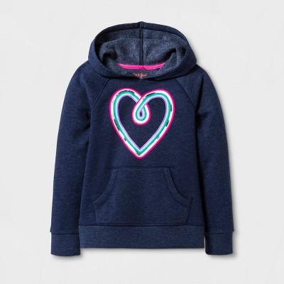Girls' Rainbow Heart Long Sleeve Fleece Hoodie - Cat & Jack™ Navy M