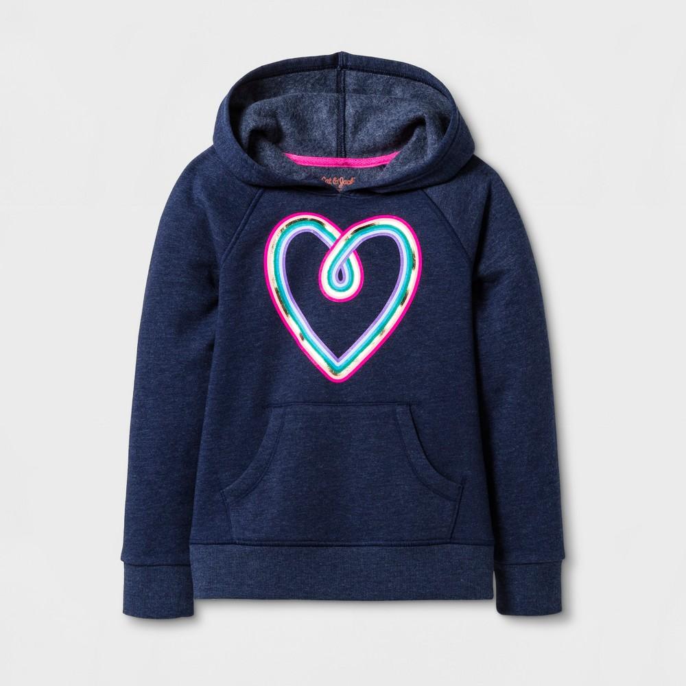 Girls Rainbow Heart Long Sleeve Fleece Hoodie - Cat & Jack Navy M, Blue