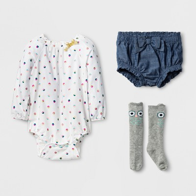 Baby Girls' Woven Bodysuit, Chambray Bloomer and Owl Socks Set - Cat & Jack™ Multi Print 0-3 Months