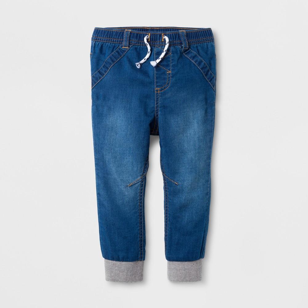 Baby Girls Denim Jogger Pants - Cat & Jack Denver Wash 6-9 M, Blue