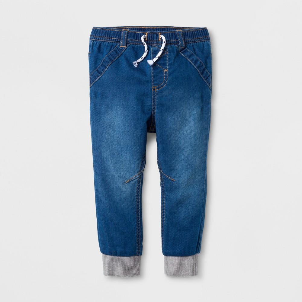 Baby Girls Denim Jogger Pants - Cat & Jack Denver Wash 18 M, Blue