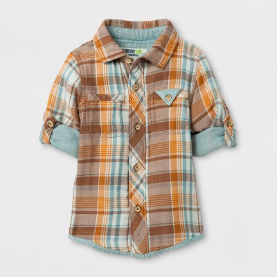 Toddler Boys' Long Sleeve Plaid Button Down Shirt Genuine Kids® from Oshkosh™ - Orange 18M