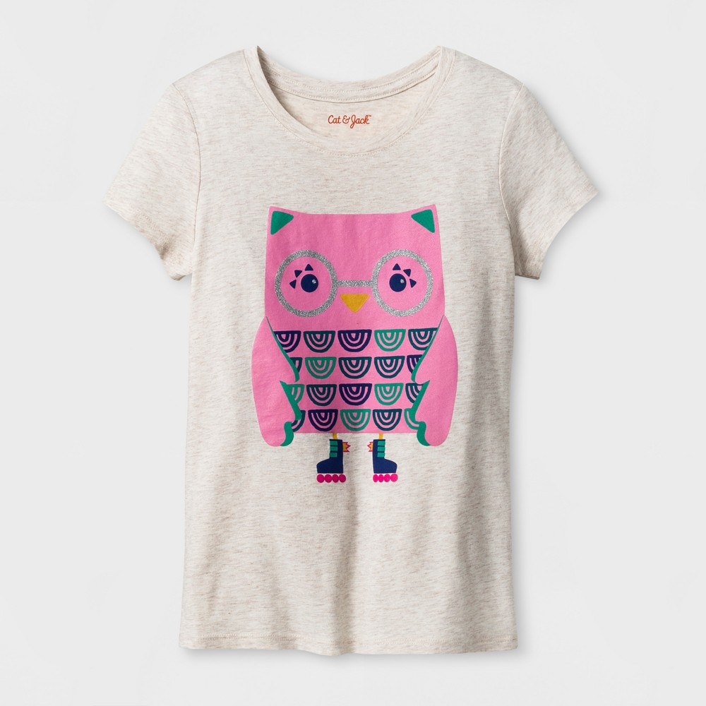 Girls Short Sleeve Owl Graphic T-Shirt - Cat & Jack Oatmeal Heather XS, Brown
