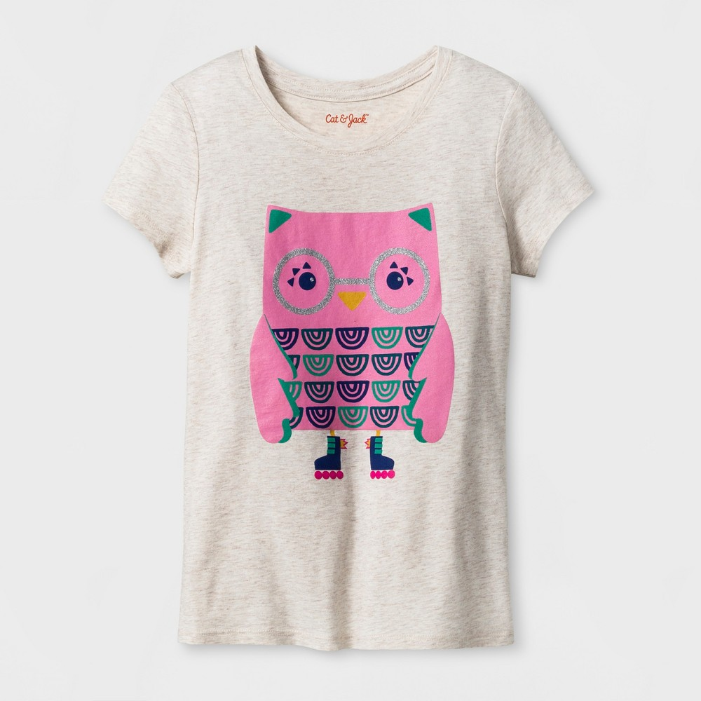 Girls Short Sleeve Owl Graphic T-Shirt - Cat & Jack Oatmeal Heather M, Brown
