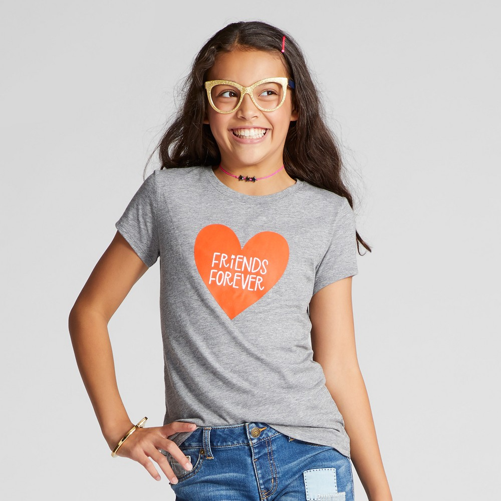 Girls Short Sleeve Friends Forever Graphic T-Shirt - Cat & Jack Heather Gray L