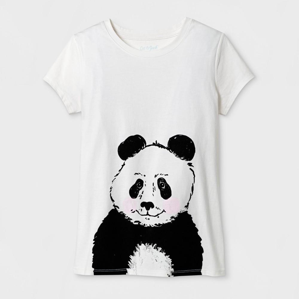 Girls Short Sleeve Panda Graphic T-Shirt - Cat & Jack Cream L, White