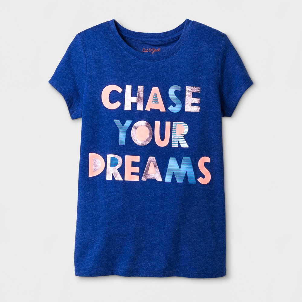Girls Short Sleeve Chase Your Dreams Graphic T-Shirt - Cat & Jack Blue XS
