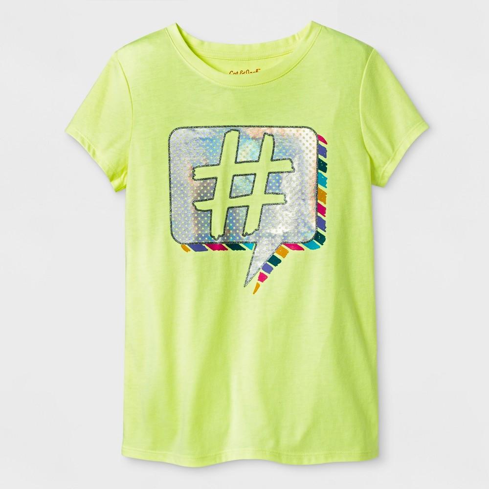 Girls Short Sleeve Hashtag Graphic T-Shirt - Cat & Jack Yellow M