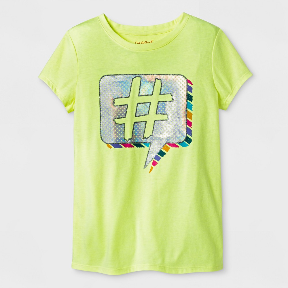 Girls Short Sleeve Hashtag Graphic T-Shirt - Cat & Jack Yellow L