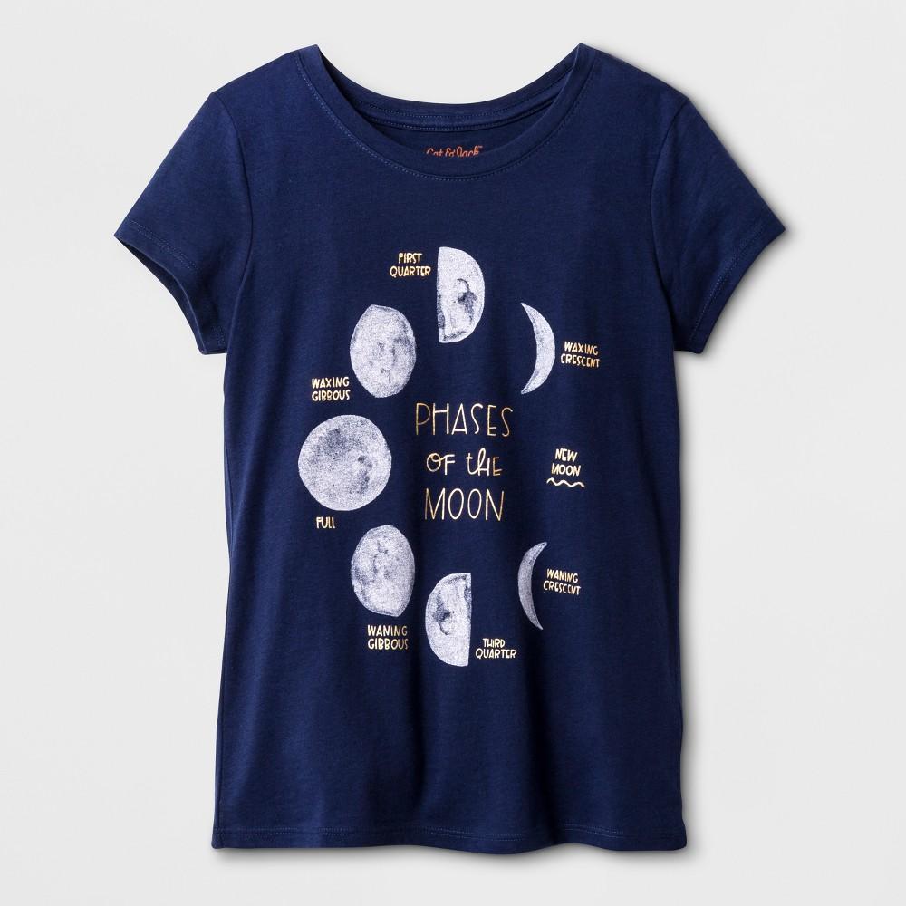Girls Short Sleeve Moon Graphic T-Shirt - Cat & Jack Navy XL, Blue