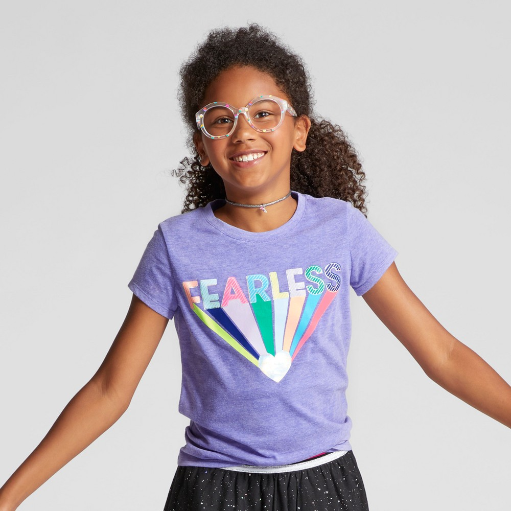 Girls Short Sleeve Fearless Graphic T-Shirt - Cat & Jack Purple S