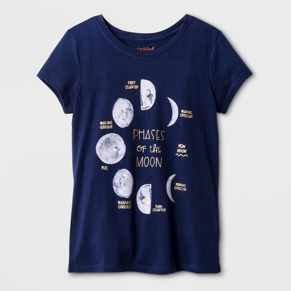 Girls Short Sleeve Moon Graphic T-Shirt - Cat & Jack Navy M, Blue