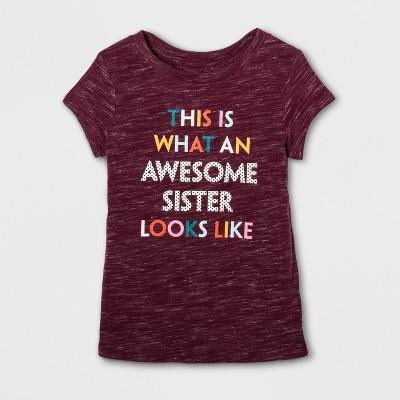 Toddler Girls' Cap Sleeve Graphic T-Shirt - Cat & Jack™ Burgundy 12 M