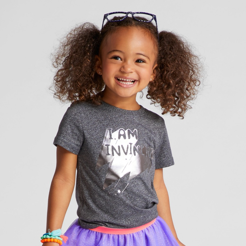 Toddler Girls Cap Sleeve Graphic T-Shirt - Cat & Jack Black 2T