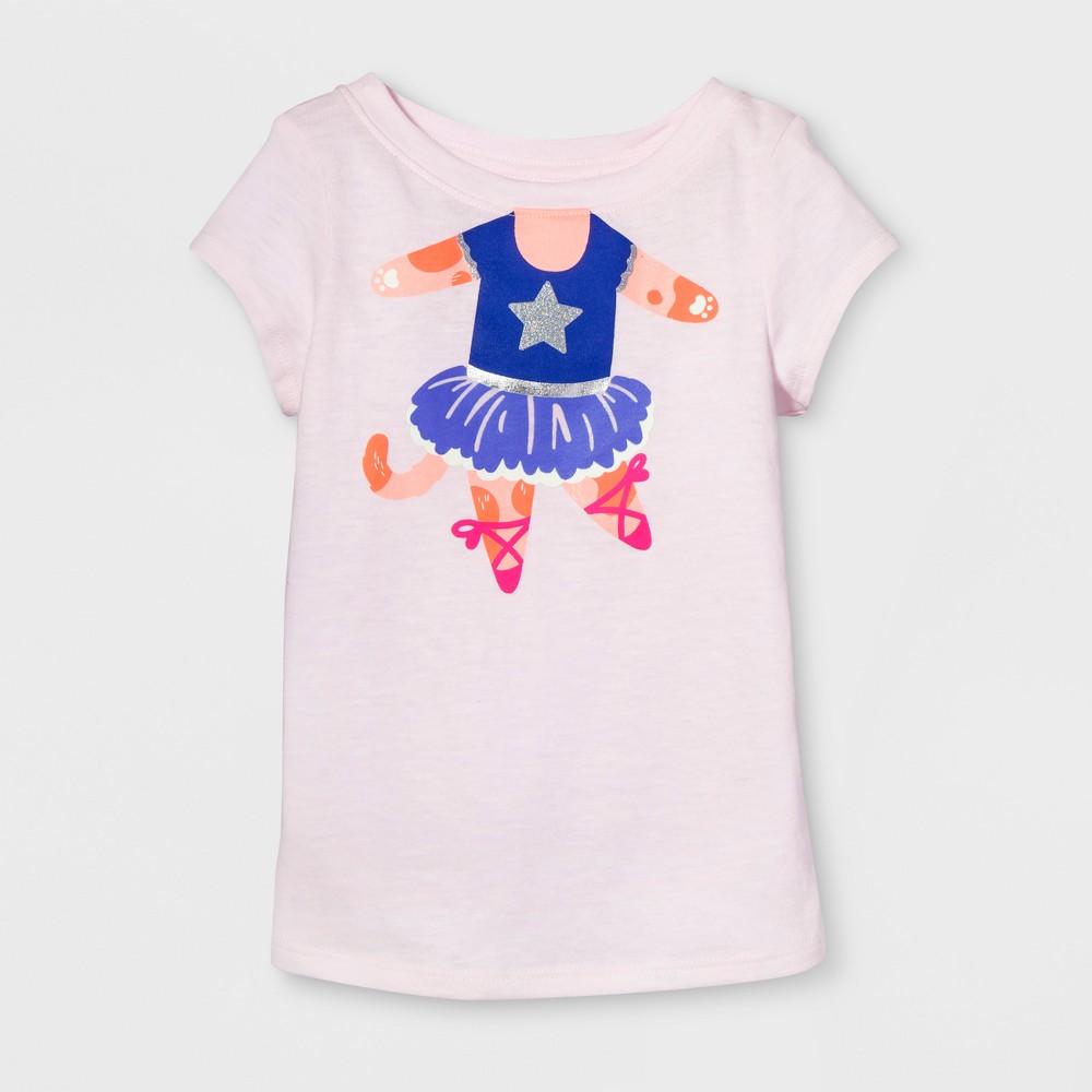 Toddler Girls Cap Sleeve Graphic T-Shirt - Cat & Jack Cherry Cream 3T, Pink