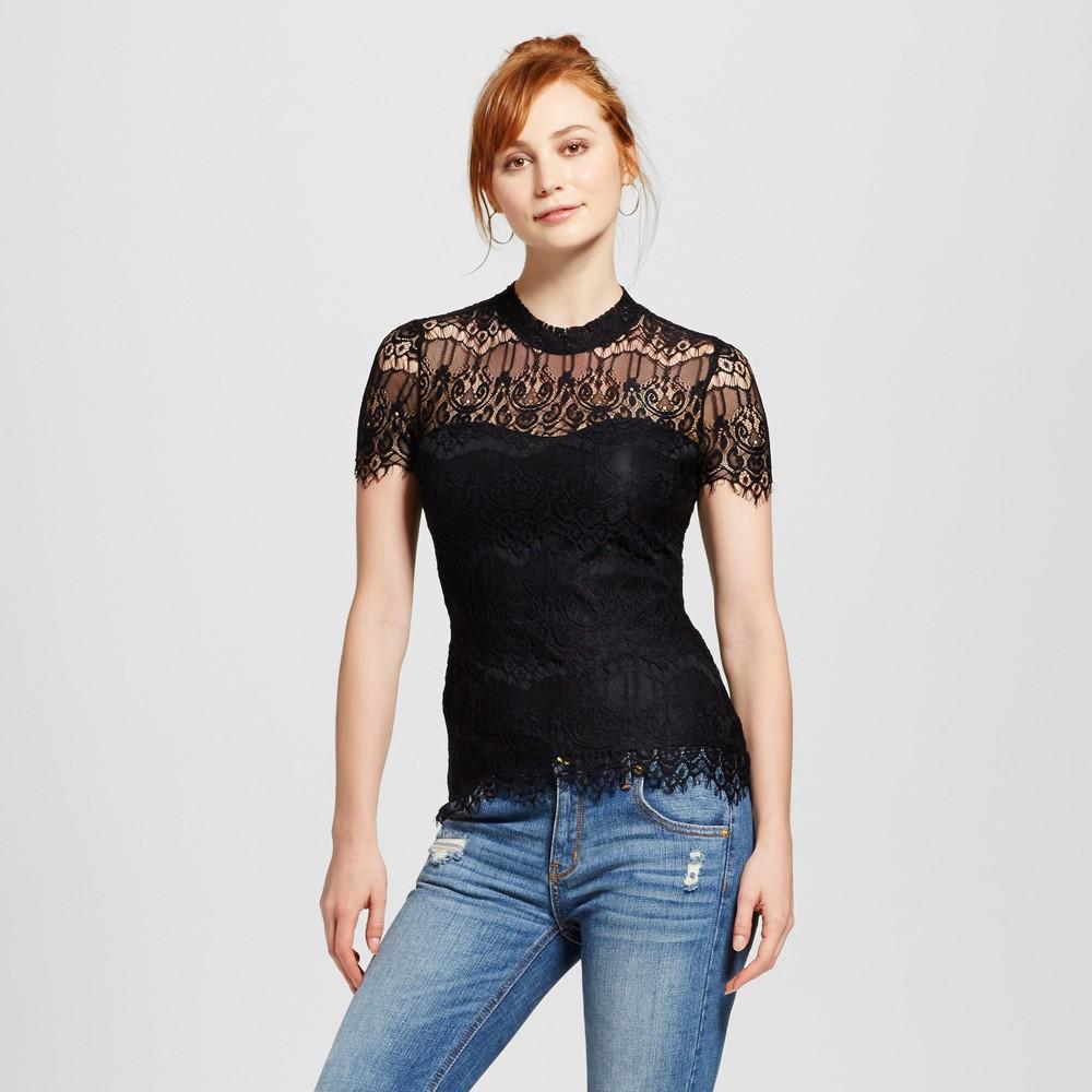 Womens Lace Mock-Neck Short Sleeve Top - Almost Famous (Juniors) Black M