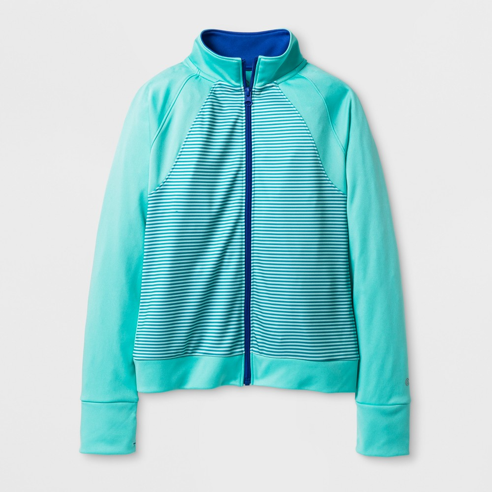 Girls Track Jacket Mini Stripe - C9 Champion Light Sea Green XS, Blue