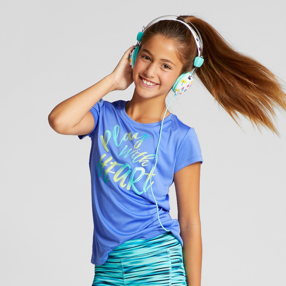 Girls Graphic Tech T-Shirt - C9 Champion Steel Blue S Play With Heart