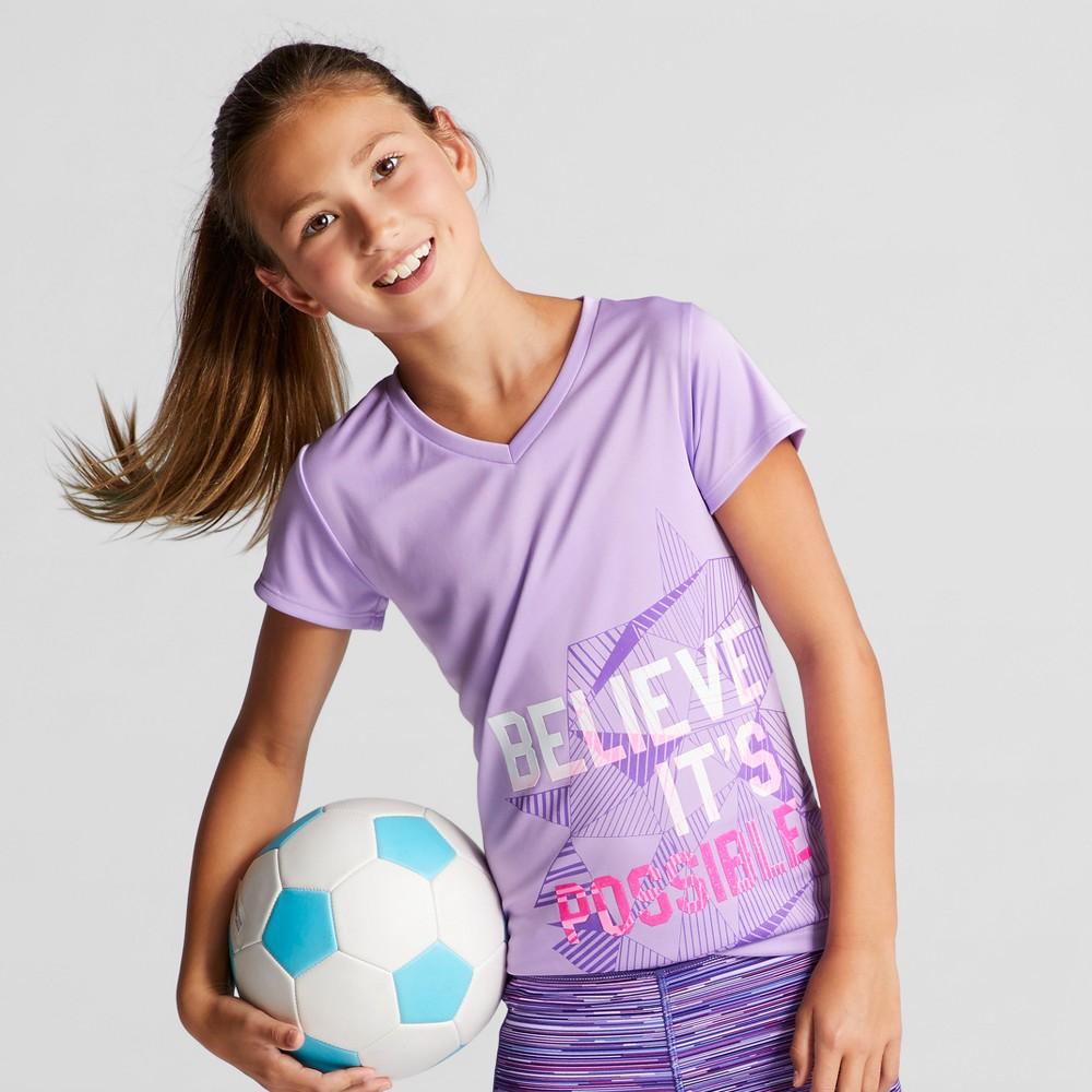 Girls Graphic Tech T-Shirt - C9 Champion Lavender S Believe Its Possible, Purple
