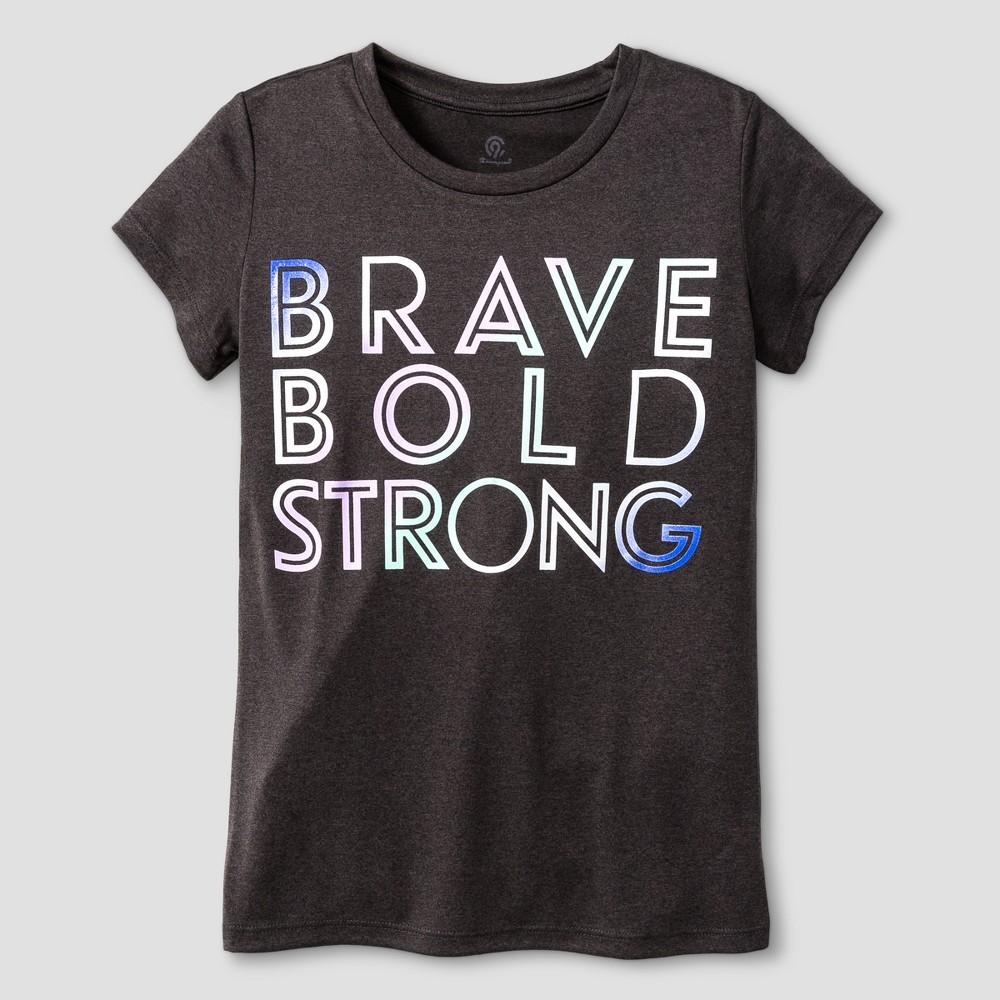 Girls Graphic Tech T-Shirt - C9 Champion Railroad Gray Heather XS Brave Bold Strong