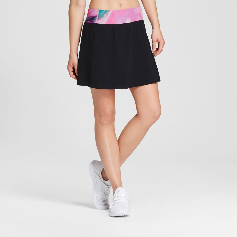 Love Life Live - Womens Skort with Printed Waistband - Black/Paint Print XS