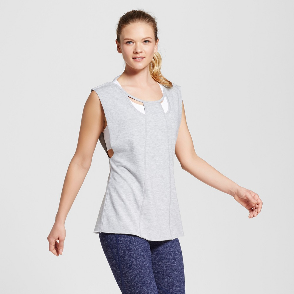 Love Life Live - Womens Sleeveless Cut Out Pullover - Gray Heather XS
