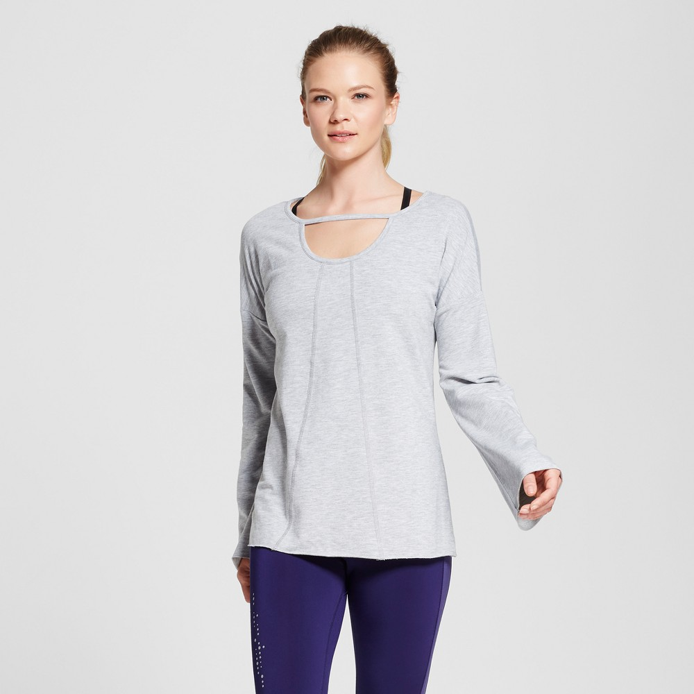 Love Life Live - Womens Long Sleeve Cut Out Pullover - Gray Heather XS