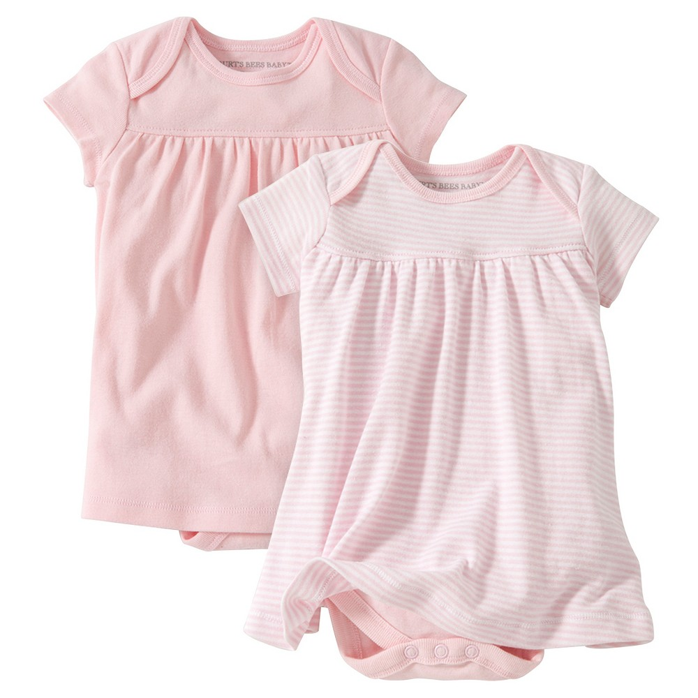 Burts Bees Baby Girls Organic 2pk Lap Shoulder Dress Set - Pink 3-6M, Size: 3-6 M