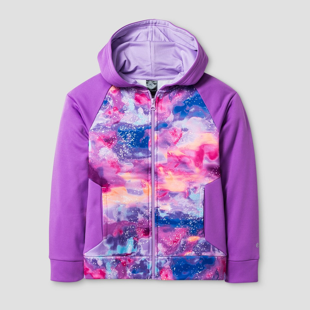 Girls' Printed Tech Fleece Full Zip Hoodie Clouds Print - C9 Champion Aurora Purple S