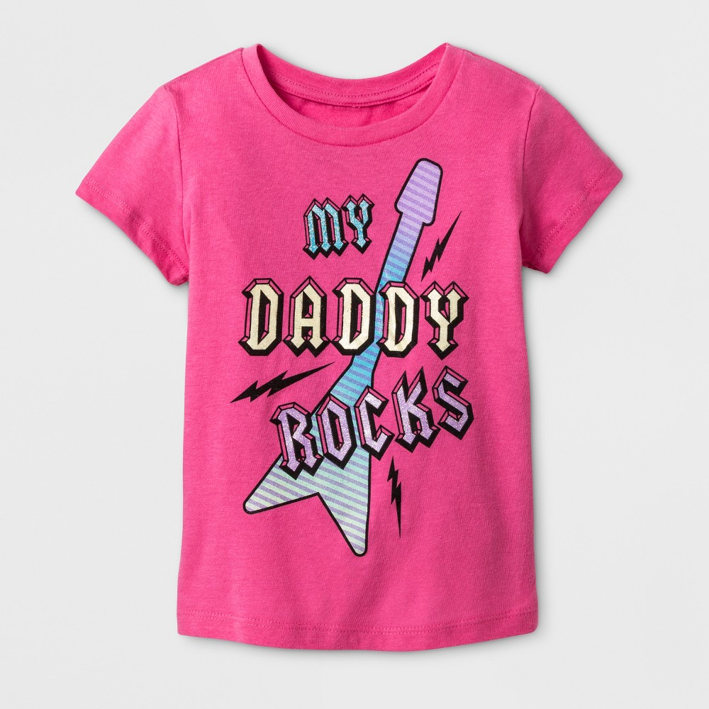 Toddler Girls My Daddy Rocks T-Shirt - Bubble Gum Pink 3T