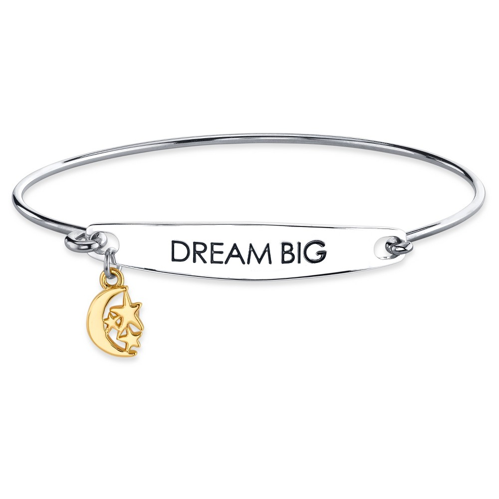 Womens Silver Plated Two Tone Dream Big Catch Bangle Bracelet - Silver/Gold (8)