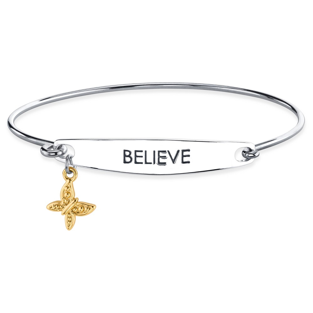 Womens Silver Plated Two Tone Believe Catch Bangle Bracelet - Silver/Gold (8)
