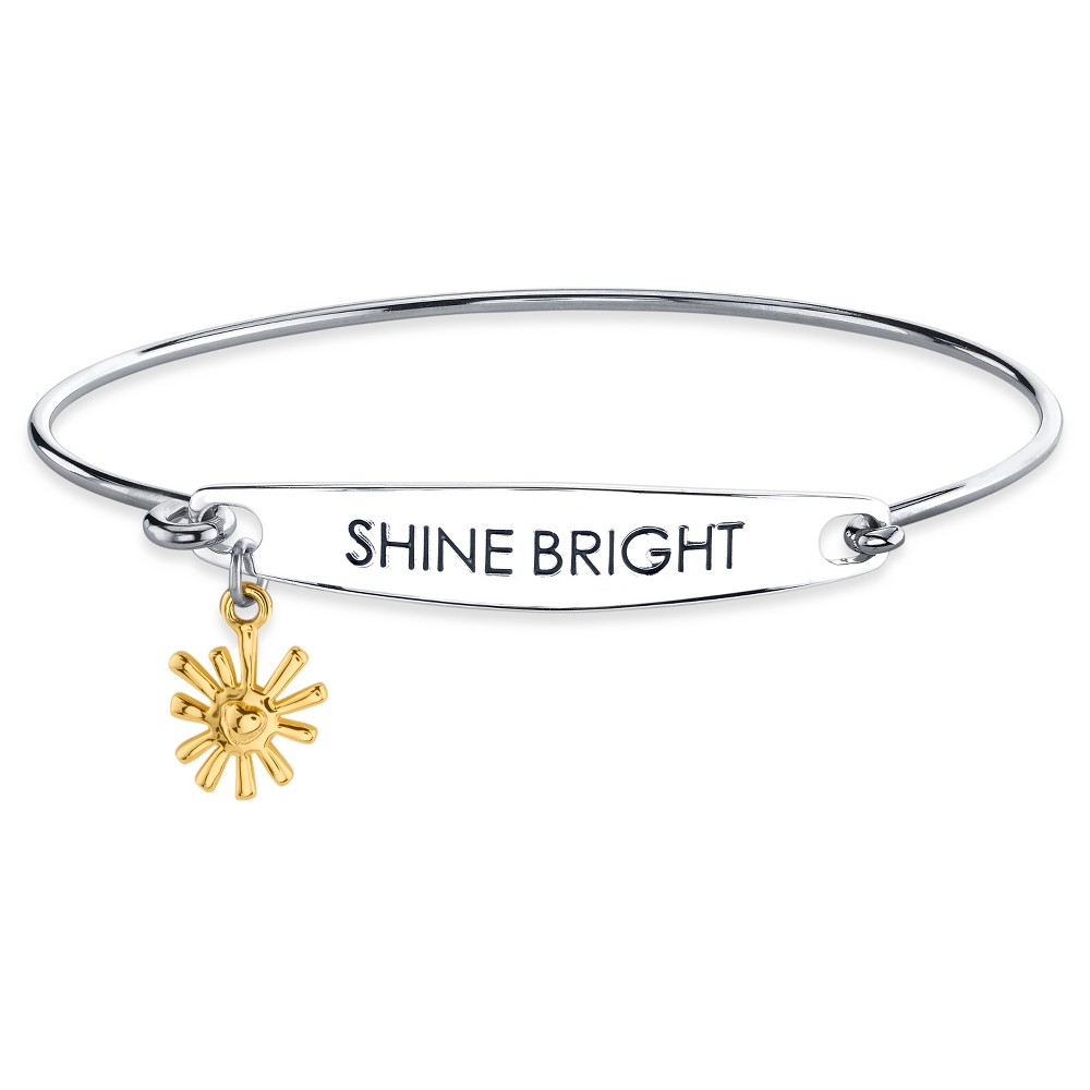 Womens Silver Plated Two Tone Shine Bright Catch Bangle Bracelet - Silver/Gold (8)