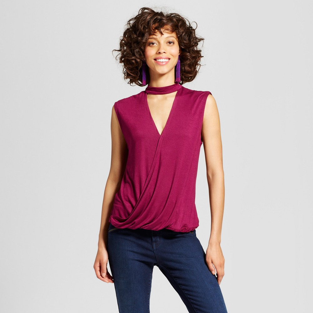 Womens Mock-Neck Cut-Out Wrap Top - Almost Famous (Juniors) Purple M