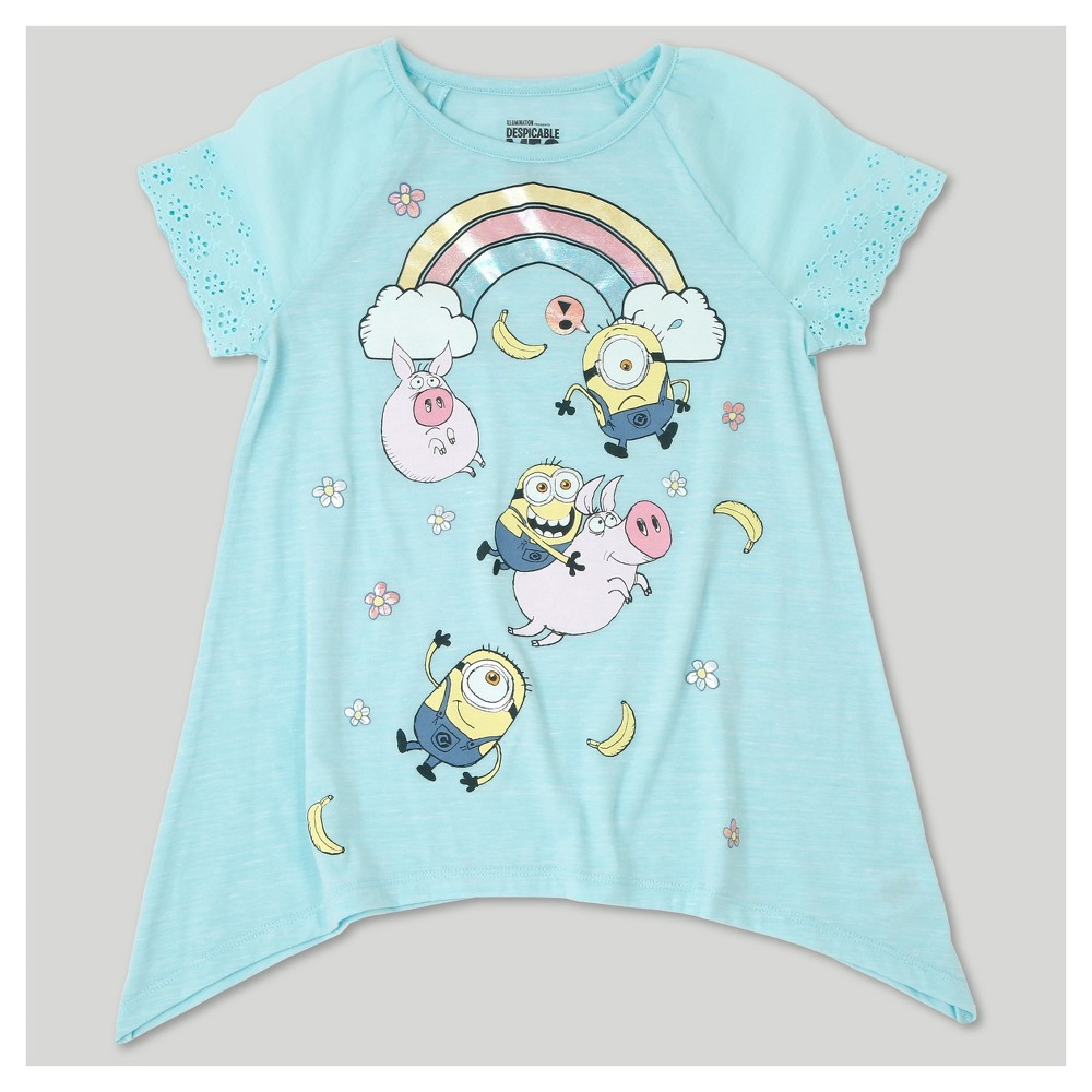 Girls Despicable Me 3 Eyelet Top - Blue L