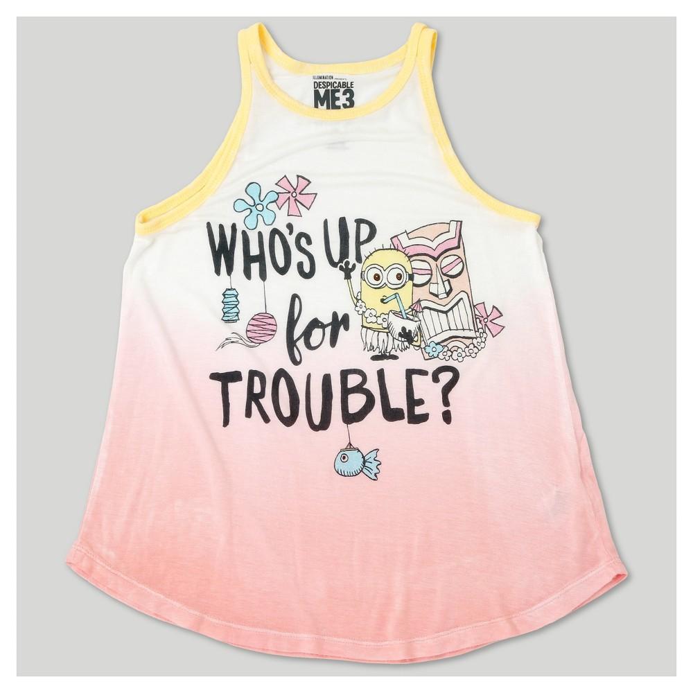 Girls Despicable Me 3 Dip Dye Tank Top - Coral L, Pink