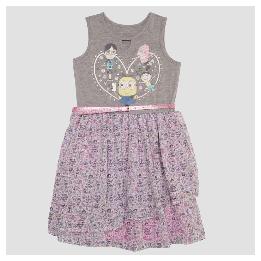Girls Despicable Me 3 Ruffle Dress - Heather Gray L