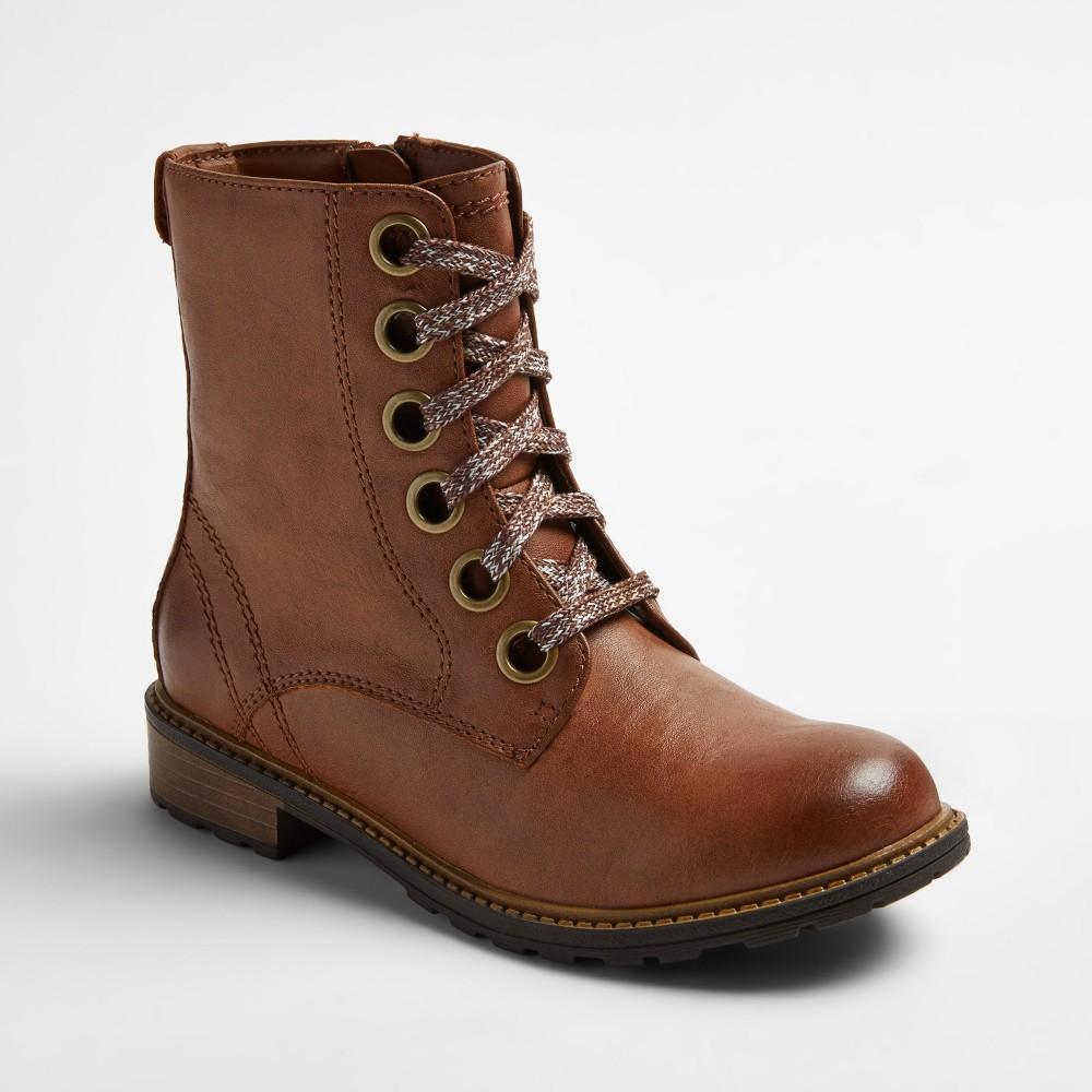 Girls Sage Lace Up Combat Boots Cat & Jack - Cognac (Red) 5