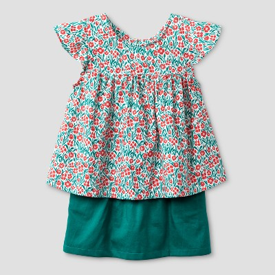 Toddler Girls' 2pc Floral Top and Solid Bottom Set - Genuine Kids™ from OshKosh® Green 18M