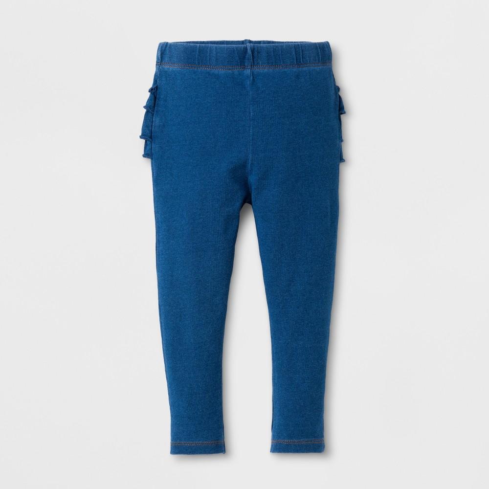 Baby Girls Ruffle Bum Faux Denim Leggings Blue 0-3 M - Cat & Jack